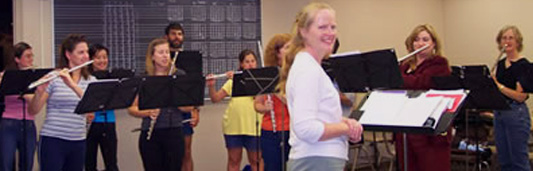Pamela Ravenelle conducts the Magicflutes rehearsals at the College of San Mateo